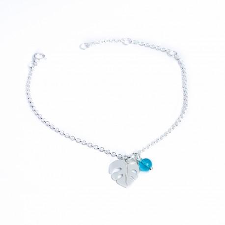 Bracelet argent feuille philodendron et perle verre