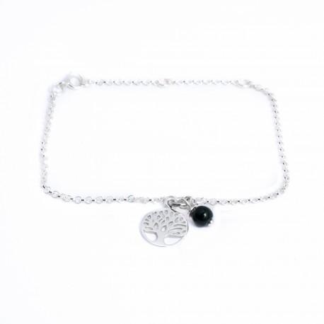 Bracelet argent massif arbre de vie perle verre de couleur au choix