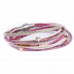 Bracelet cuir double tour ton rose /doré