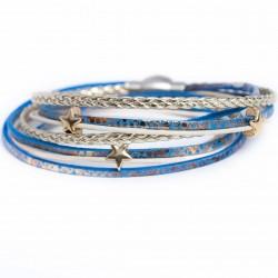 Bracelet cuir double tour ton bleu/doré