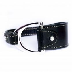 Bracelet cuir noir avec boucle étrier