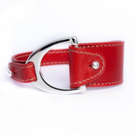 Bracelet cuir rouge avec boucle étrier