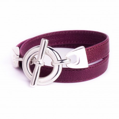 Bracelet double tour cuir bordeaux boucle T argent