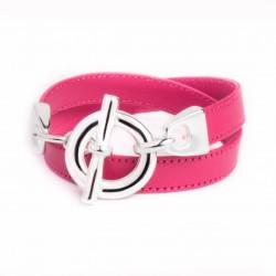 Bracelet double tour cuir rose boucle T argent