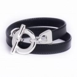 Bracelet double tour cuir noir boucle T argent
