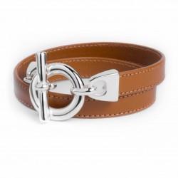 Bracelet double tour cuir camel boucle T argent