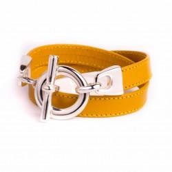 Bracelet double tour cuir jaune moutarde boucle T argent