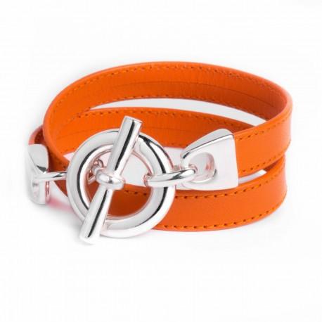 Bracelet double tour cuir orange boucle T argent