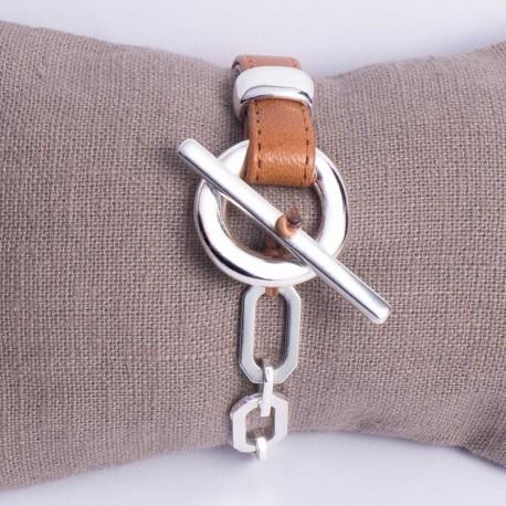 Bracelet femme mi cuir camel mi chaine maille ovale biseautée fermeture en T