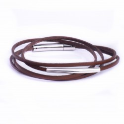 Bracelet cuir double tour fin marron