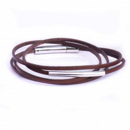 Bracelet cuir double tour fin marron