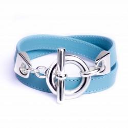 Bracelet double tour cuir bleu glacier boucle T argent