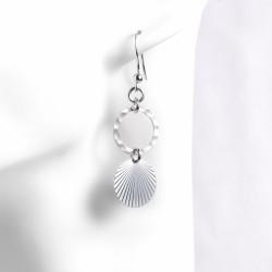 Boucles d'oreilles anneau martelé pampille rainurée