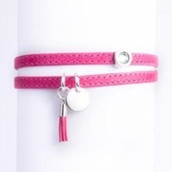 Bracelet cuir double tour rose pampille, pompon cuir et cristal