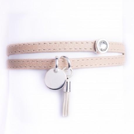Bracelet cuir double tour beige pampille, pompon cuir et cristal