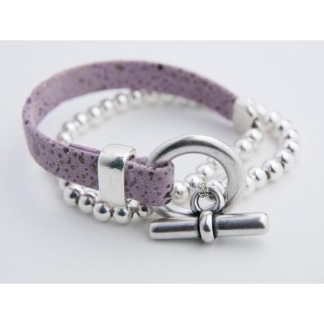 Bracelet cuir double rang perles et fermoir plaqués argent