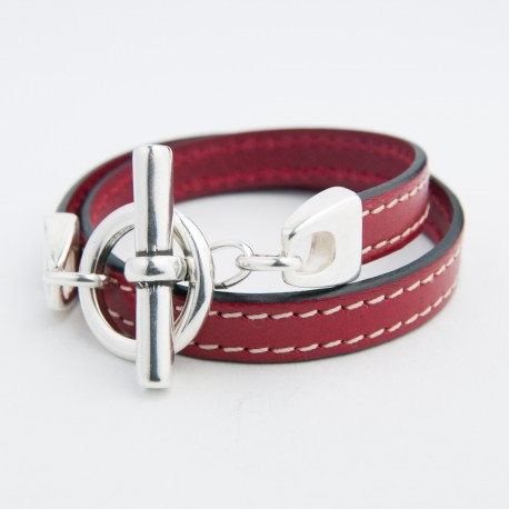 Bracelet cuir double tour rouge