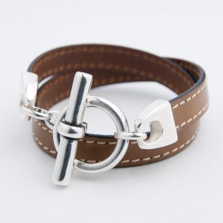 Bracelet cuir double tour camel