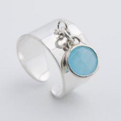 Bague pampille argent cristal sertis couleur bleu clair