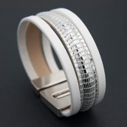 Bracelet cuir lézard argent métallisé et blanc