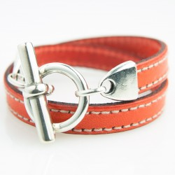 Bracelet cuir double tour orange