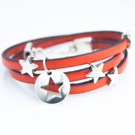 Bracelet cuir triple tour orange pampille étoile argentée