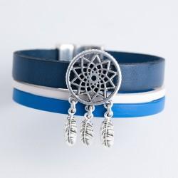 Bracelet cuir nuance de bleu avec attrape rêve