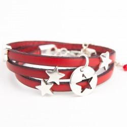 Bracelet cuir triple tour rouge pampille étoile argentée