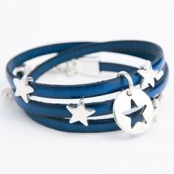 Bracelet cuir triple tour bleu nuit pampille étoile argentée