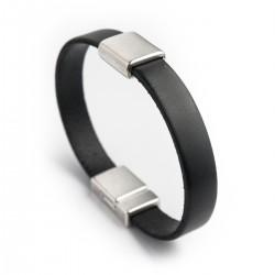 Bracelet homme cuir noir 10mm