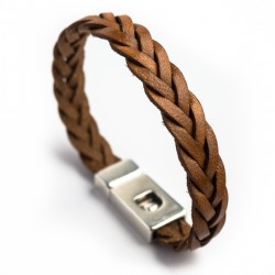 Bracelet homme cuir tressé marron