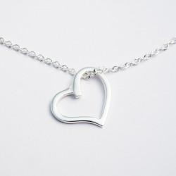 Collier argent massif avec coeur