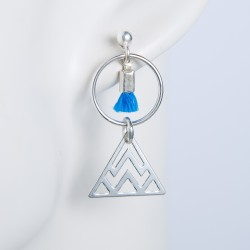 Boucles d'oreille argent massif formes géométriques pompon bleu dur