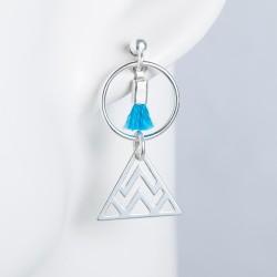 Boucles d'oreille argent massif formes géométriques pompon turquoise