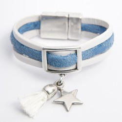 Bracelet cuir trois lanières blanc et daim bleu étoilé avec pompon et étoile