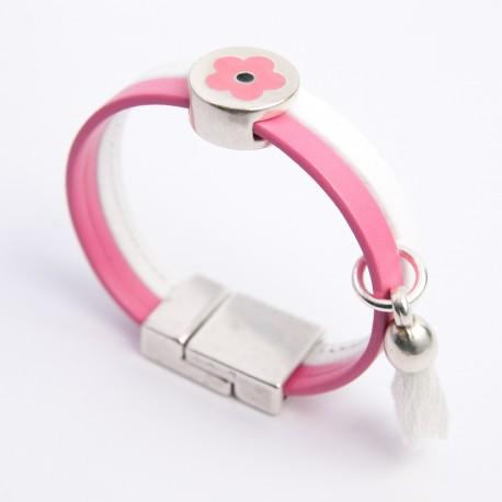 Bracelet cuir rose et blanc pompon et passant fleur ton rose