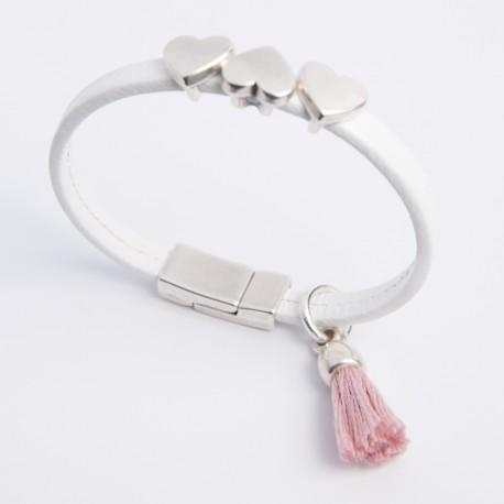 Bracelet cuir blanc triple coeur
