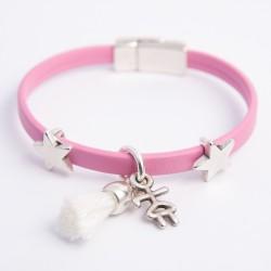 Bracelet cuir rose pompon rose fillette et étoiles