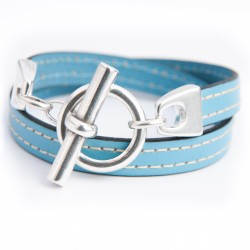 Bracelet cuir couturé double tour bleu ciel