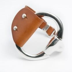 Bracelet cuir camel grosse boucle
