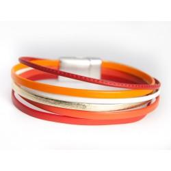 Bracelet cuir multi-brins ton corail