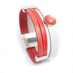 Bracelet cuir et resine corail