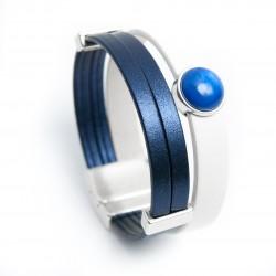 Bracelet cuir et résine bleu nuit