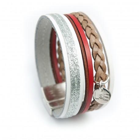 Manchette cuir glitter sur cuir blanc et tresse couleur naturelle lanière rouge