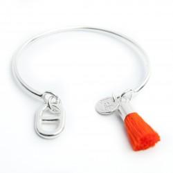 Jonc ouvert en zamac plaqué argent maille marine pompon orange