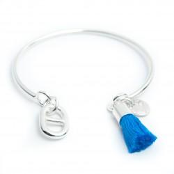 Jonc ouvert en zamac plaqué argent maille marine pompon bleu dur
