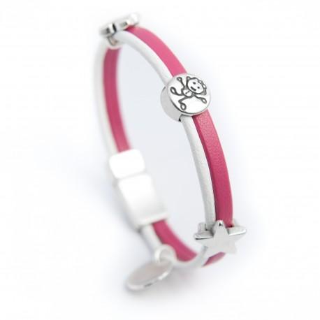 Bracelet cuir pour enfant rose et blanc
