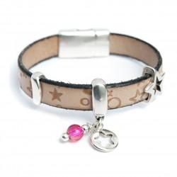 Bracelet cuir enfant ton naturel motif du ciel perle rose et étoile ajourée