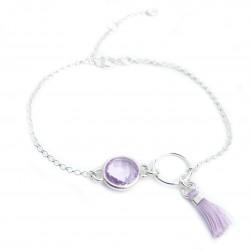 Bracelet argent massif cristal serti et pompon soie couleur améthyste