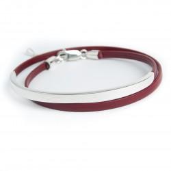 Bracelet cuir double tour et passant argent massif
